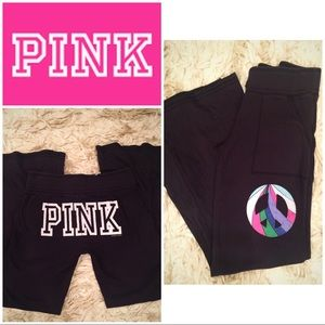 Pink Victoria's Secret black sweat pant peace